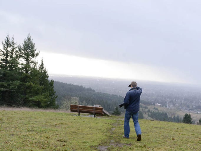 A viewpoint at the top of a 1.5-mile loop at Chip Ross Park in Corvallis on a rainy winter day. Saturday, Jan. 11, 2014.