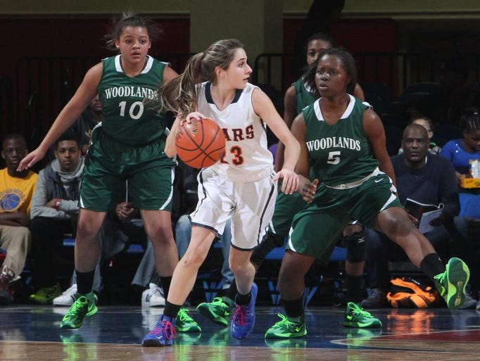 Briarcliff's Carly Fanelli is guarded by Woodland's Diamond Spaulding (5) during their Class B girls basketball semifinal at the Westchester County Center Feb. 25, 2014.