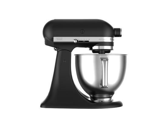 A KitchenAid stand mixer in matte black.
