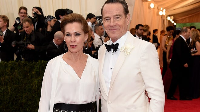 """NEW YORK, NY - MAY 05:  Actor Bryan Cranston (R) and Robin Dearden attend the """"Charles James: Beyond Fashion"""" Costume Institute Gala at the Metropolitan Museum of Art on May 5, 2014 in New York City.  (Photo by Larry Busacca/Getty Images)"""