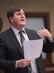 Livonia assistant city attorney Paul Bernier sums up the case against Mary Gabriel.