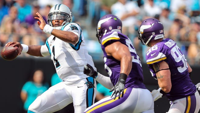 The Vikings defense had Panthers QB Cam Newton on the run all day Sunday.
