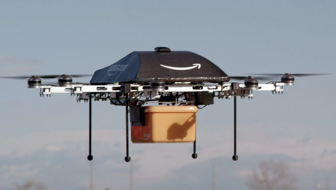 An Image of the so-called Prime Air unmanned aircraft project that Amazon is working on in its research and development labs.