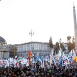 Italian Lega Nord (Northern League) protesters crowd Piazza del Popolo, a vast square in central Rome, during a rally to demand the Italian government keep out immigrants, Saturday, Feb. 28, 2015.