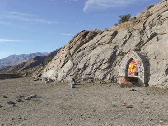 This area of undeveloped mountainside above Palm Springs may be turned into luxury homes.  A large cavern has been built into the mountainside by a previous owner.