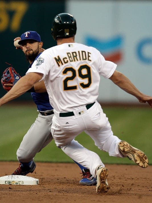 Texas Rangers' Rougned Odor, left, prepares to complete a double play with a throw over Oakland Athletics' Matt McBride (29) in the fourth inning of a baseball game, Monday, May 16, 2016, in Oakland, Calif. (AP Photo/Ben Margot)
