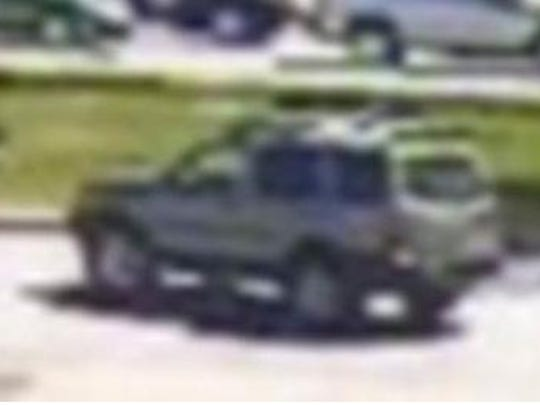 This surveillance image, released Monday, shows the suspected vehicle of a man New Castle County police say used a credit card from a purse stolen from a parked car in Glasgow.