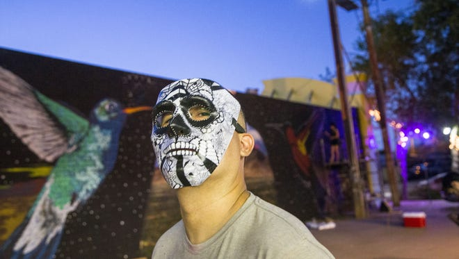 Renowned Phoenix artist Lalo Cota (pictured here in 2015) is perhaps best known for his use of the calavera (skull) motif. His inspirations range from Mexican folk art to Chicano low-rider culture.
