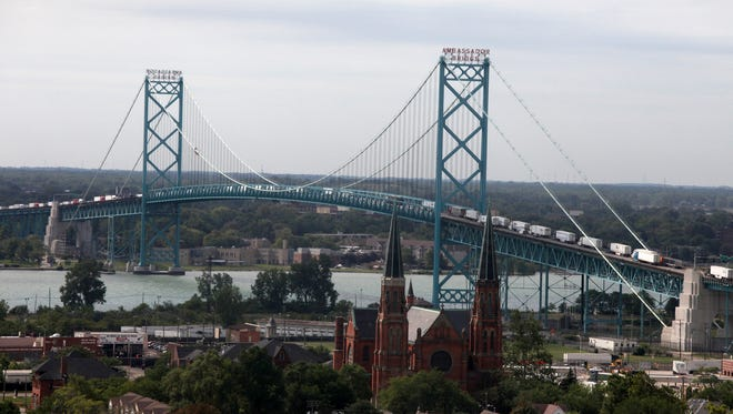 The Ambassador Bridge, one of the busiest crossings in North America.