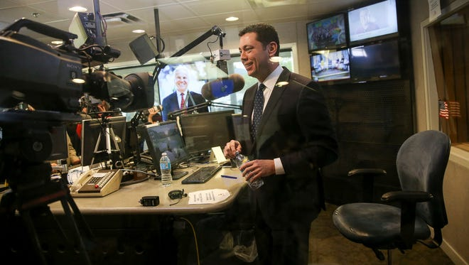 """Rep. Jason Chaffetz, R-Utah, gives an interview on the KSL Newsradio's """"The Doug Wright Show"""" in Salt Lake City on Wednesday, April 19, 2017."""