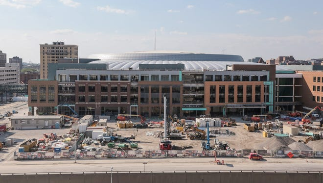 A view of the Little Caesars Arena in downtown Detroit is seen looking north on Monday, June 12, 2017.