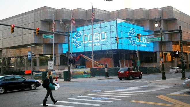 Cobo Center features two large video displays with a viewable area of 1,382 square feet in downtown Detroit.