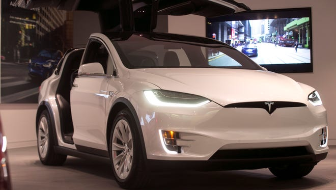 The Tesla Model X is seen in the showroom at Somerset Collection North in Troy in October 2017.