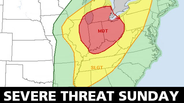 Threat map for Sunday