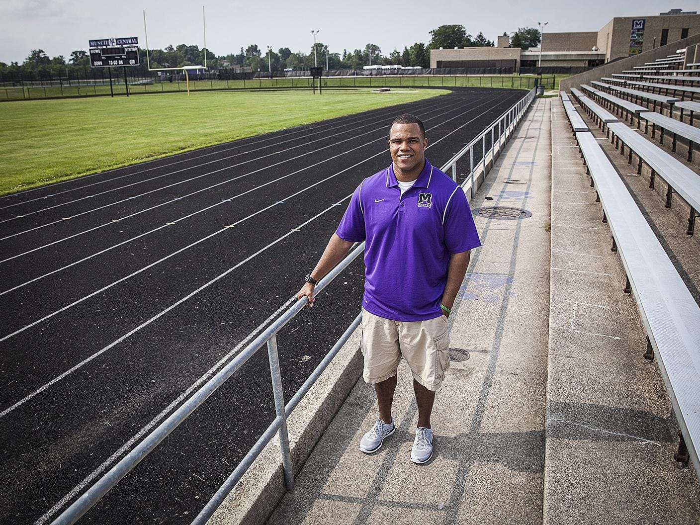 Central's football coach Adam Morris at the school's stadium recently.