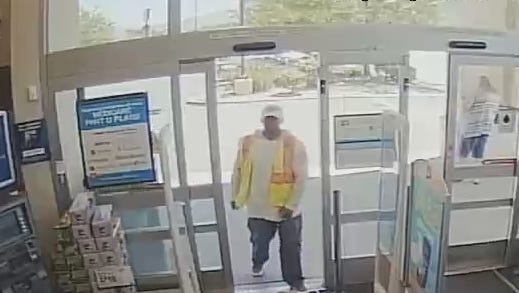 A security photo showing a man, who Reno police believe robbed a Walgreen's store, walking into the store on Wednesday in south Reno.