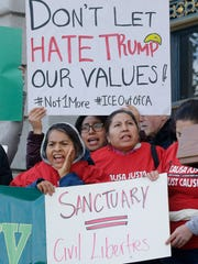 Immigrants demonstrate over the issue of sanctuary