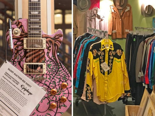 The Rhythm N' Blooms Festival will have plenty of Dogwood Arts color to offer, including the Art Guitar Design Contest (left) and vendors like Pioneer House (right).