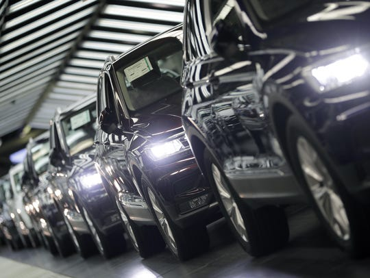 Volkswagen cars during a final quality control at the