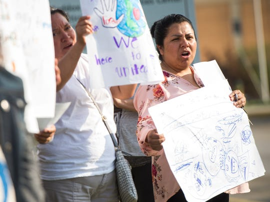 Family and friends of undocumented workers arrested in last month's ICE raid at the Southeastern Provision meat-packing plant in Bean Station, Tenn., demonstrate against immigration crackdowns and the Tennessee Legislature's passage of HB2315 at Carson-Newman University in Jefferson City on Friday, May 4, 2018.