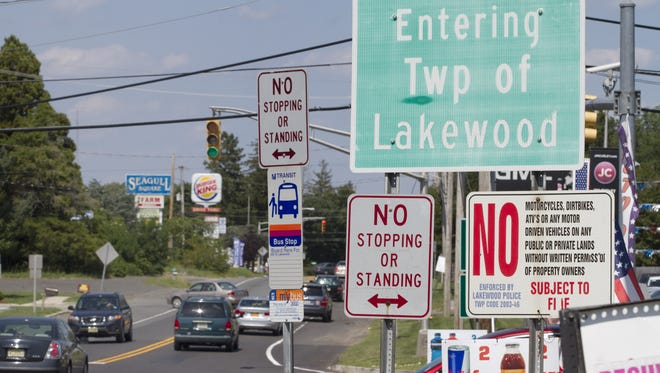 Border of Lakewood, NJ  along Route 9 on August 26, 2015.