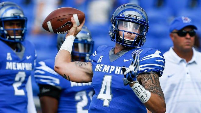 University of Memphis quarterback Riley Ferguson during pregame warm ups before taking Navy at Liberty Bowl Memorial Stadium in Memphis, Tenn., Saturday, October 14, 2017.