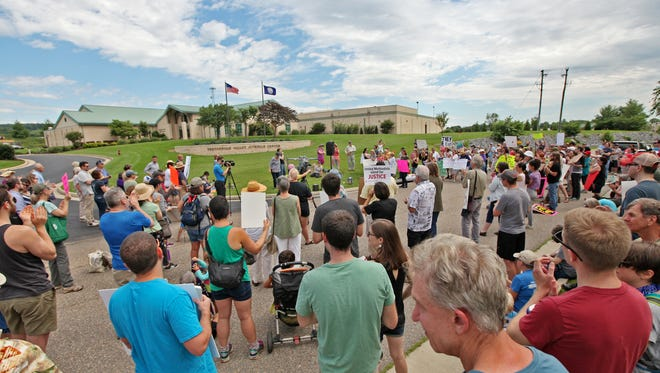 A crowd of about 250 people attended a protest on Sunday, June 24, 2018 organized by SAW Citizen Action Network in support of the immigrant teens who are alleging abuse by the Shenandoah Valley Juvenile Center in Verona.