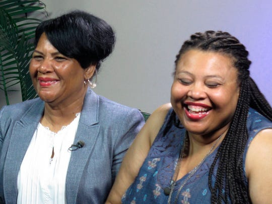 "Alice Marie Johnson, left, and her daughter Katina Marie Scales wait to start a TV interview on Thursday in Memphis. Johnson, 63, whose life sentence was commuted by President Donald Trump, thanked him on Thursday for ""having mercy"" and said reality TV star Kim Kardashian West saved her life."