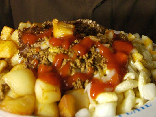 """The various """"plates"""" around Rochester descent from the Nick Tahou's Garbage Plate."""