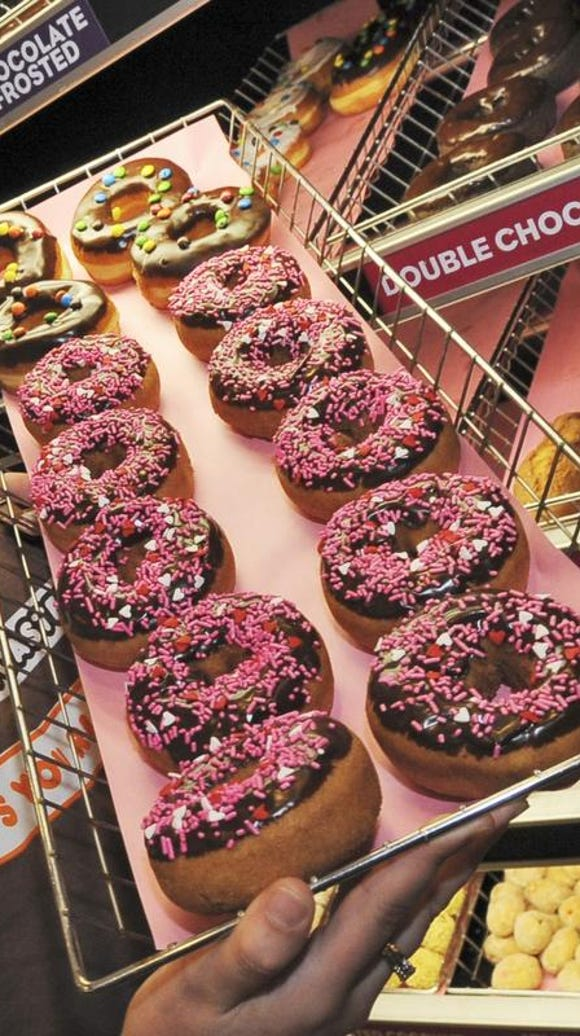 Doughnuts at a Dunkin' Donuts franchise in Boston.