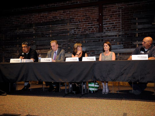 Panelists at 210 Connect April 13, 2015 on homelessness included Benny Rodriguez of Bethlehem Center, left, Dr. Tim Durkin of Tulare County Mental Health, Tracy Robertshaw of the city of Visalia, Machael Smith of Kings/Tulare Homeless Alliance and Rick Berbereia of the Visalia Rescue Mission.