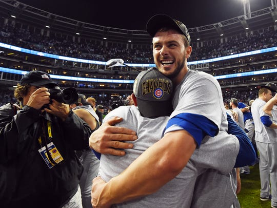 Cubs third baseman Kris Bryant celebrates after Game