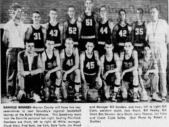 Dale Toole played on the Speedway basketball team. He's No. 32, in the front row, in this 1955 photo.