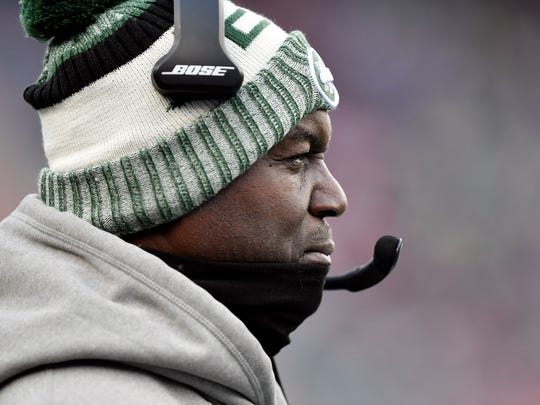 New York Jets head coach Todd Bowles watches the field during the second half against the New England Patriots at Gillette Stadium on Dec 31, 2017 at Foxborough, Mass.