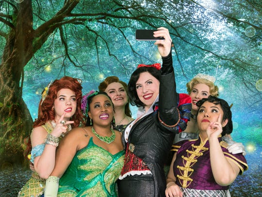 The 'Disenchanted' actresses stick around after the show to take selfies with audience.