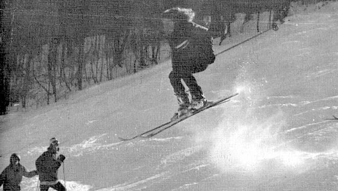 "A ski club photo from the 1974 edition of Lansing High School's yearbook, ""The Cayugan."""
