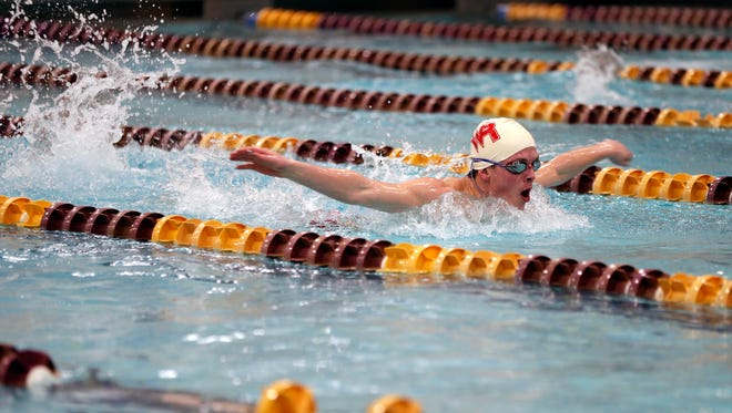 Simon O'Day of Wisconsin Rapids Lincoln High School competes in the 200 yard IM during the Wisconsin Valley Conference boys swimming meet at the University of Wisconsin-Stevens Point, February 1, 2018.