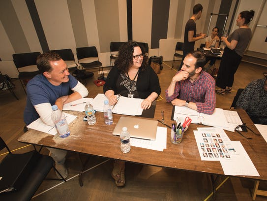 """Seated at a table during the first rehearsal for """"Trevor"""
