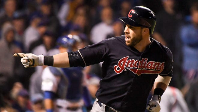 Jason Kipnis celebrates after hitting a three-run home run in the seventh inning.