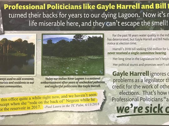 An anti-Gayle Harrell mailer compares the representative