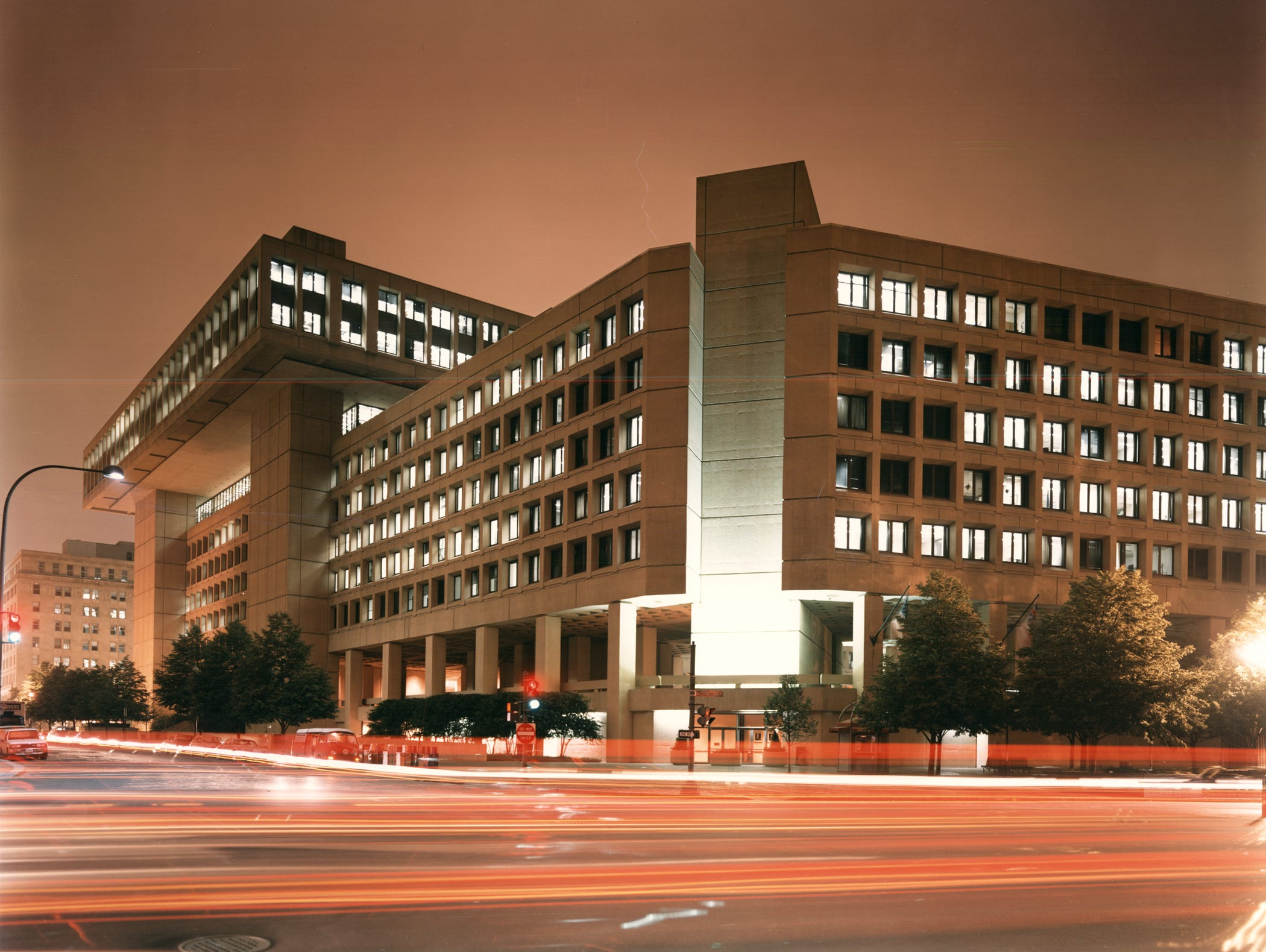 The FBI's headquarters at night.