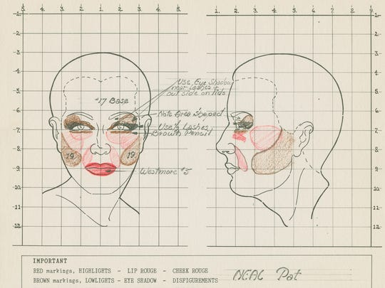 "Makeup chart for actress Patricia Neal for ""The Fountainhead."""