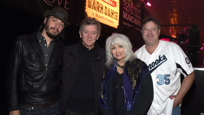 Cory Chisel, Rodney Crowell, Emmylou Harris and Vince Gill at the Celebrity Barn Dance benefit concert at the Jaeckle Centre on March 28 in Thompson's Station, Tennessee.