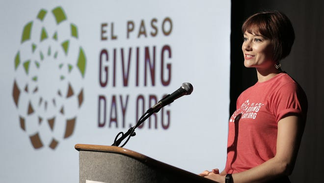 El Paso Giving Day coordinator Kimmy May in August 2016 at the Plaza Theatre's Philanthropy Theatre announces the first fundraising event of its kind for the city.