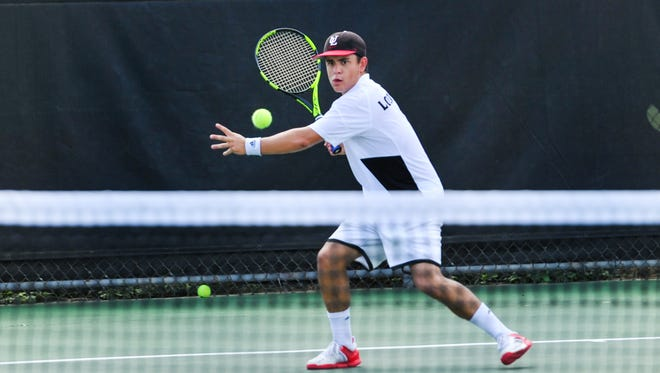 Arthur Libaud is shown during a match at the 2016 John Breaux Cajun Tennis Classic, hosted by UL.