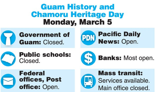 What's open, what's closed on Guam History and Chamorro Heritage Day.