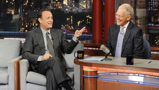 """Tom Hanks chats with David Letterman during Monday's episode of """"Late Show."""""""