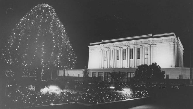 Arizona Temple & Visitors Center of the Church of Jesus Christ of Latter-day Saints - Mesa decked out in holiday lights on December 5, 1981.
