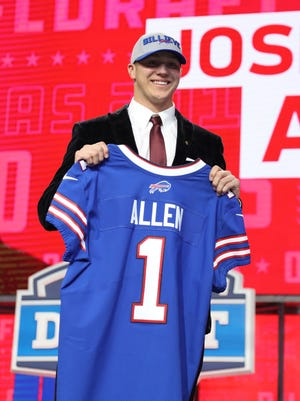 Apr 26, 2018; Arlington, TX, USA; Josh Allen is selected as the number seven overall pick to the Buffalo Bills in the first round of the 2018 NFL Draft at AT&T Stadium. Mandatory Credit: Matthew Emmons-USA TODAY Sports