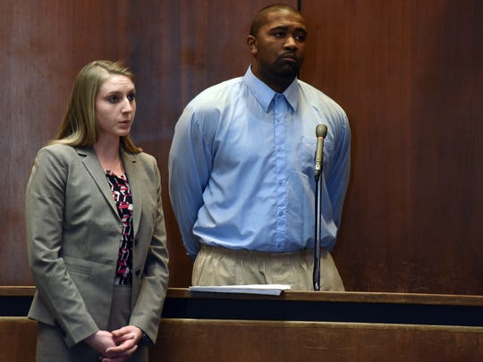 Ray Cooley with his attorney Elayna Thompson during his sentencing for the killing of William Fitzsimmons of Belleville. Cooley was sentenced to 16 years in jail for 1st degree manslaughter in Essex County Superior Court on Monday, Feb. 6, 2017.